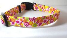 DOG COLLAR FABRIC FLOWER PINK ORANGE YELLOW GREEN 5 SIZES AVAILABLE - NEW