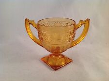 """Depression Glass Orange Floral Footed Handled Sugar Bowl Cup 4"""" Tall, 3"""" Dia."""