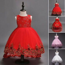 Baby Flower Girls Bow Princess Dress Girls Party Wedding Bridesmaid Gown Dresses