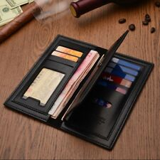 Mens Long Casual Leather Wallet ID Card Holder Cente Bifold Zipper Pockets Purse