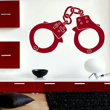 Handcuffs - Art Wall Decal / Stylish Art Decor / Large Removable Vinyl Decal ne8