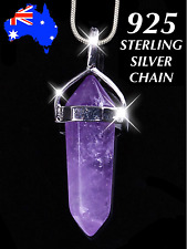 Amethyst Purple Crystal Quartz Healing Point 925 Sterling Silver Chain Necklace