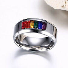 Gay Les Pride Unisex Stainless Steel Rainbow Rhinestone Ring Size 5-13