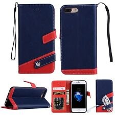 Luxury PU Leather Flip Stand Wallet Card Slots Case Cover For iPhone Samsung B