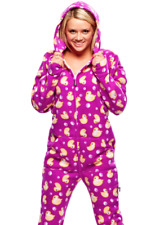 Unisex Ultra Soft Purple & Yellow Ducks Adult Sized Footed Hoodie Pajamas