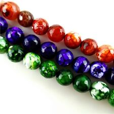 15.5'' Beautiful Dragon Veins Agate Faceted Loose Bead 12mm F-TZ016