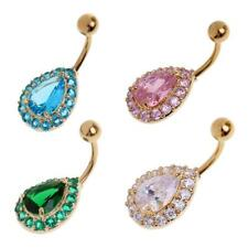 14g Belly Bars Body Piercing Belly Button Ring Full Crystal Dangly Navel Bar