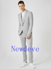 Gray Men Fashion Wedding Suits 3 Piece One Button Slim Fit Groom Tuxedos Custom