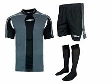 15 X UMBRO Full Team Kit Strip Black Football Strips Kits Boys Kids Mens Adult