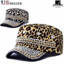 The Hat Depot Women's Beaded Bling Rhinestone Leopard Cadet Cap