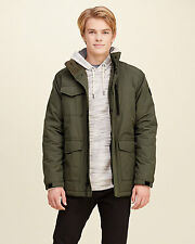 Abercrombie & Fitch - Hollister Jacket Mens Coated Puffer Winter L Olive NWT