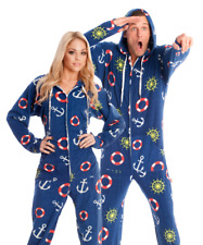 Unisex Ultra Soft Navy Blue Nautical Anchors Adult Sized Footed Hoodie Pajamas