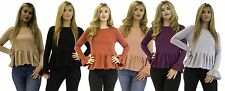 *Womens Ladies Frilled Long-sleeve top available in 6 coulors**