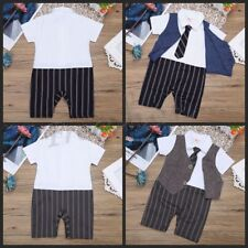 Toddler Baby Boys Infant Gentleman Striped Formal Romper Bodysuit Suits Outfits