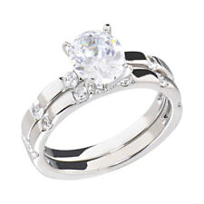 2 Carats Round Cubic Zirconia Rhodium EP Bridal Engagement Wedding Ring Set