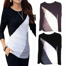 Women Casual Long Sleeve Shirt Stitching Color Block Blouse Crop Tops Jacket