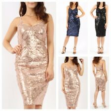 WOMENS LADIES BLINGY SLEEVELESS BODYCON CAMI FLORAL SEQUIN EVENING PARTY DRESS