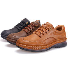New Solid Outdoor Leather Hiking Trail Lace Up Shoes Mens Casual Walking Shoes