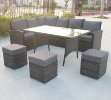 9 SEATER NEW RATTAN GARDEN FURNITURE SET SOFA TABLE CHAIRS - PATIO CONSERVATORY