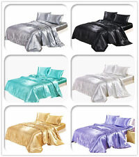 Solid Color Silk Duvet Cover Summer Bedding Set Ice silk Fitted Sheet Pillowcase