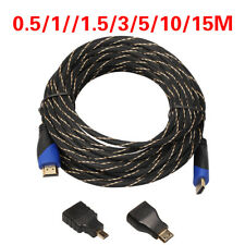 3In1 Black Gold-plating HDMI Cable Adapter HDMI to Micro Adapter 0.5-10M For PC