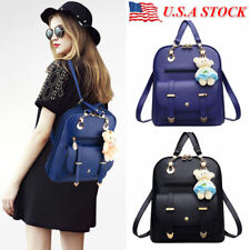 Women Girl School PU Leather Shoulder Bag Backpack Travel Student Rucksack Purse
