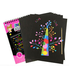 Hot 10 Sheets Colorful Scratch Art Craft Magic Drawing Painting Paper Kids Toy