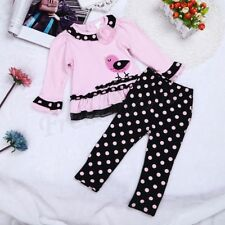 2 Pcs Newborn Infant Baby Girl Bird Outfit Ruffled Polka Pants Clothes Suits Set