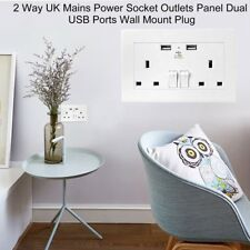 UK Plug Dual 2 Port USB Wall Socket Charger AC Power Outlet Plate Panel lot LN