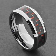 Tungsten Comfot Fit Wedding Men Band Carbon Fiber Ring Black White Red Blue