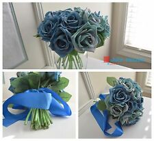 12 inch 18 roses wedding bridal bouquet home decor artificial silk flowers 30 cm