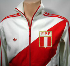 VTG Adidas White & Red Full ZIP Old School PERU Olympics Track Jacket Small EUC!
