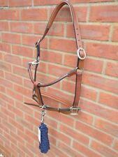 New Premium Bargain Padded Leather Headcollar with/without Lead Rope Black Brown