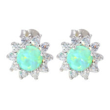 Green White Opal Zircon 925 Sterling Silver Women Jewelry Stud Earrings SE020-1