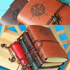 Retro Vintage PU Leather Bound Blank Page Notebook Note Notepad Journal Diary E3