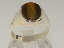 Solid 925 Sterling Silver Natural Tigers Eye Mens Gents Signet Ring