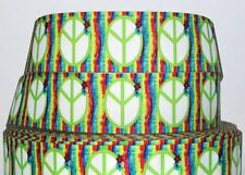 "Groovy Love Peace Symbol Lime Green 7/8"" Hippie Printed Grosgrain Hairbow Ribbon"