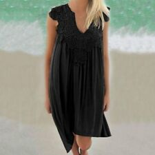 Womens lady Girl Summer Beach Holiday Shift Short Sleeve Loose Lace Mini Dress