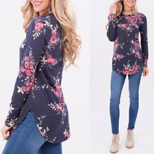 Fashion Womens Long Sleeve Slim Floral Round Collar Med Long Shirt Blouse Tops