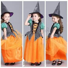 Halloween Kids Girls Costume Cosplay Party Dress Witch Hat Pumpkin Fancy Cosplay