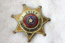 VINTAGE, OBSOLETE NORTH FOREST TEXAS POLICE CHIEF BADGE