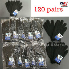 120 pairs Men Women Black Fuzzy Cozy Warm Magic Gloves Winter Knit Wholesale Lot