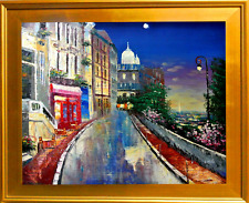 """L. Halls-""""Paris at Night""""-Framed Hand-Painted Oil Painting/Canvas/Hand Signed"""