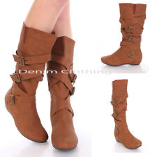 Women  Casual Comfort Mid Calf Knee High Slouch Flat Heel Winter Boot Shoes 8-10