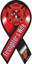 """4""""-10"""" FIREFIGHTERs WIFE Support Husband Fire Fighter Rescue Car Ribbon Magnet"""