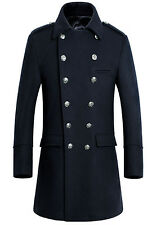 New Men's Formal Double Breasted Outerwear Wool Coat Business Overcoat Winter