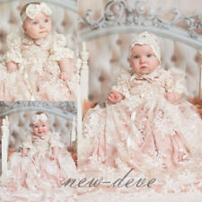 Infant 0-24 M Baptism Dresses White Ivory Soft Lace Flowers Christening Gowns
