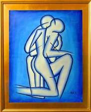 """Tom L.-""""Lovers In Blue""""-Framed Hand-Painted ORIG Oil Painting/Canvas/Hand Signed"""