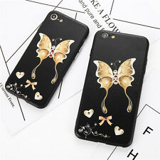 Bling Diamond Rhinestone Girl Butterfly Love TPU Soft Case For iPhone 7 Black Co