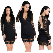 Women's Lace Floral Long Sleeve Deep-V Backless Bodycon Evening Party Mini Dress